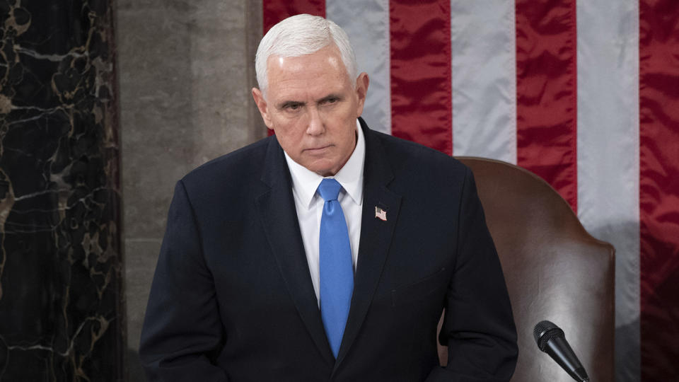 Vice President Mike Pence presides over a joint session of Congress as it convenes to count the Electoral College votes cast in the 2020 election, Jan. 6, 2021. (Saul Loeb/Pool via AP)