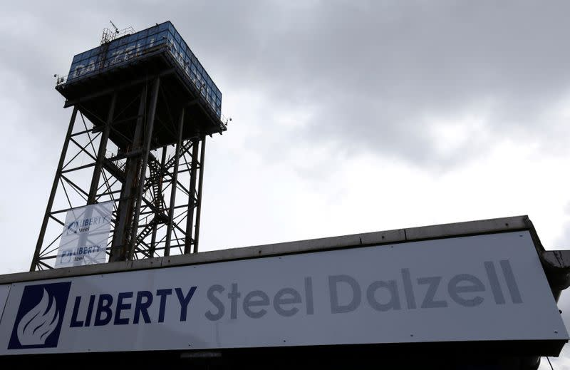 FILE PHOTO: Liberty Steel signage is seen on its processing mill in Dalzell, Scotland