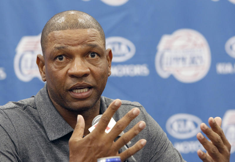 Former Boston Celtics head coach Doc Rivers talks at a press conference in Los Angeles on Wednesday, June 26, 2013. Rivers was introduced as the Los Angeles Clippers' new coach and senior vice president of basketball operations.(AP Photo/Nick Ut)