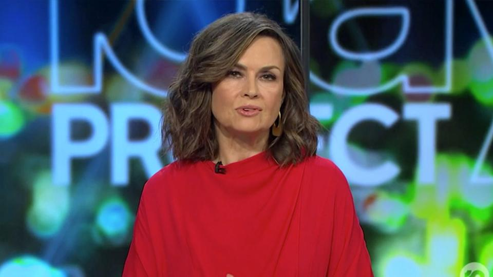 Lisa Wilkinson on The Project in a red top