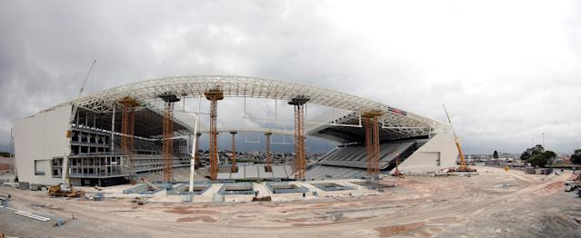 SAO PAULO, BRAZIL - NOVEMBER 30: A general exterior view of the Arena de Sao Paulo under construction on November 30, 2013 in Sao Paulo, Brazil. The Arena de Sao Paulo will be a stadium venue during the forthcoming FIFA 2014 World Cup Brazil. (Photo by Friedemann Vogel/Getty Images)