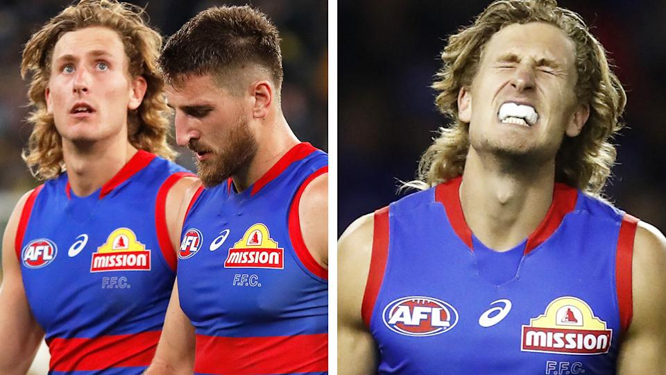 Western Bulldogs forward Aaron Naughton had one of the worst shots on goal you'll see in the AFL on Friday night against Richmond. Pictures: Getty Images