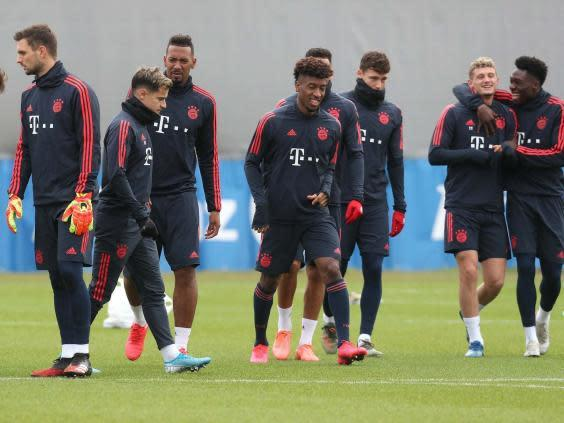 Bayern train ahead of the last 16 tie against Chelsea (Getty)