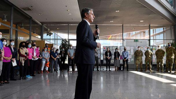 PHOTO: Secretary of State Antony Blinken speaks during a meeting with the Evacuation Operations staff at Ramstein Air Base in Germany, Sept. 8, 2021. (Olivier Douliery/Pool via Reuters)