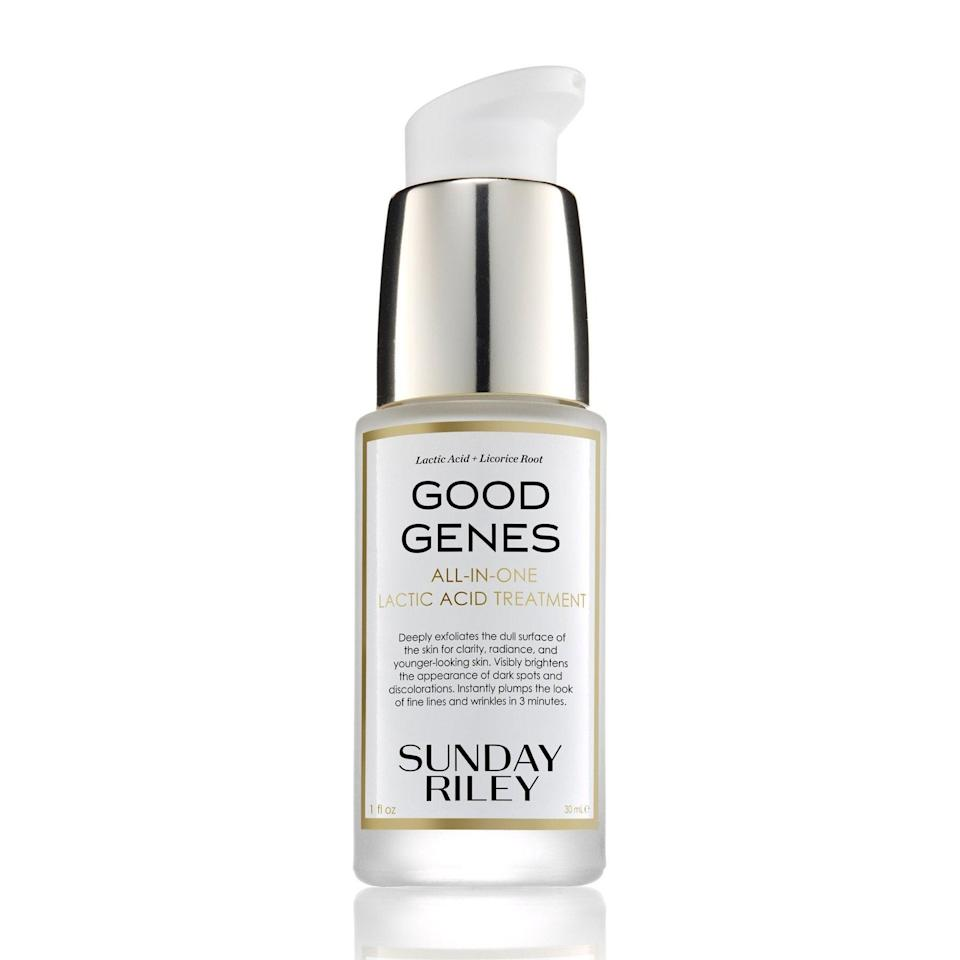 "<br><br><strong>Sunday Riley</strong> GOOD GENES All-In-One Lactic Acid Treatment, $, available at <a href=""https://go.skimresources.com/?id=30283X879131&url=https%3A%2F%2Fshop-links.co%2F1724685726085475804"" rel=""nofollow noopener"" target=""_blank"" data-ylk=""slk:DermStore"" class=""link rapid-noclick-resp"">DermStore</a>"
