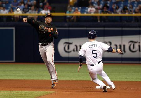 May 25, 2018; St. Petersburg, FL, USA; Baltimore Orioles second baseman Jonathan Schoop (6) forces out Tampa Bay Rays third baseman Matt Duffy (5) and throws the ball to first base during the seventh inning at Tropicana Field. Mandatory Credit: Kim Klement-USA TODAY Sports