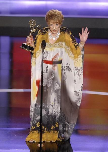 "FILE - In this June 20, 2008 file photo, actress Jeanne Cooper accepts the award for outstanding lead actress in a drama series for her work on ""The Young and the Restless"" at the 35th Annual Daytime Emmy Awards in Los Angeles. CBS says soap opera star Cooper has died. She was 84. Cooper played grande dame Katherine Chancellor on CBS' ""The Young and the Restless"" for nearly four decades. (AP Photo/Matt Sayles), File"