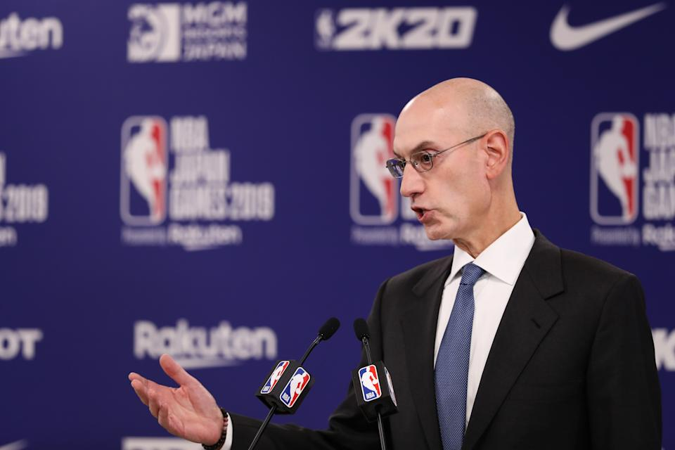 Adam Silver continued to navigate the NBA's China conflict as state-run media pulled NBA games from its airwaves. (Getty)