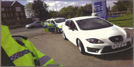 PC Maurice Maison's car after the 122mph traffic stop (MPS)