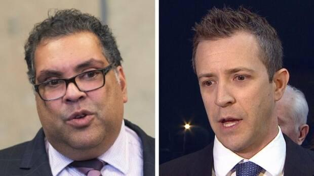 Calgary Mayor Naheed Nenshi says if the allegations about the relationship between Coun. Jeff Davison's mayoral campaign and third-party advertisers are true, it's 'extremely troubling.' (Canadian Press, CBC - image credit)
