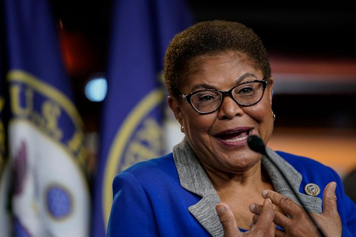 Rep. Karen Bass, chair of the Congressional Black Caucus, is a possible successor to Sen. Kamala Harris if the Democrats win the White House in November. (Photo: Drew Angerer/Getty Images)
