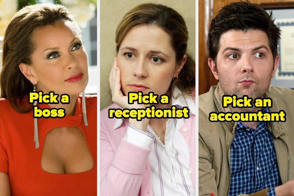 """Wilhelmina Slater from """"Ugly Betty"""",Pam Beesly from """"The Office"""", andBen Wyatt from """"Parks and Recreation"""""""