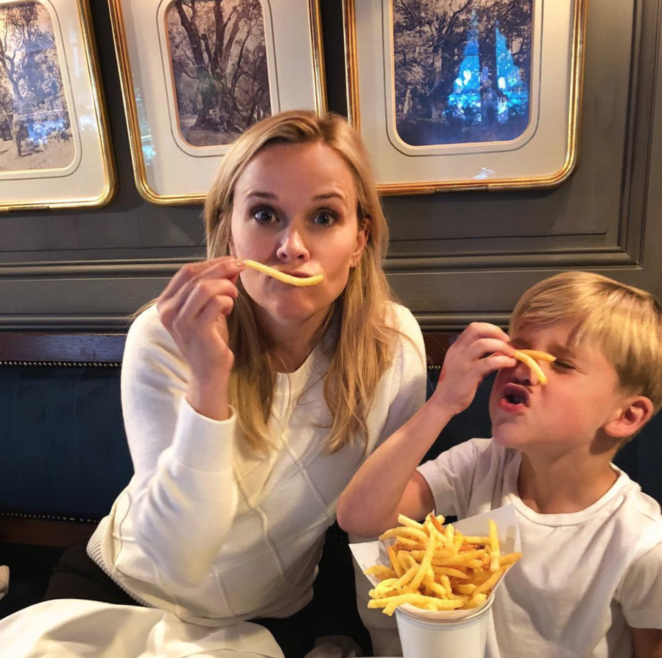 "<p>While Witherspoon's daughter, Ava Phillippe, is photographed alongside her all the time, photos of her and son Tennessee Toth, 5, are a little harder to come by. She posted this one from Paris, captioning it, ""French fries. You know…Literally."" (Photo: <a rel=""nofollow noopener"" href=""https://www.instagram.com/p/Bb-YZd7BKiI/?hl=en&taken-by=reesewitherspoon"" target=""_blank"" data-ylk=""slk:Reese Witherspoon via Instagram"" class=""link rapid-noclick-resp"">Reese Witherspoon via Instagram</a>) </p>"