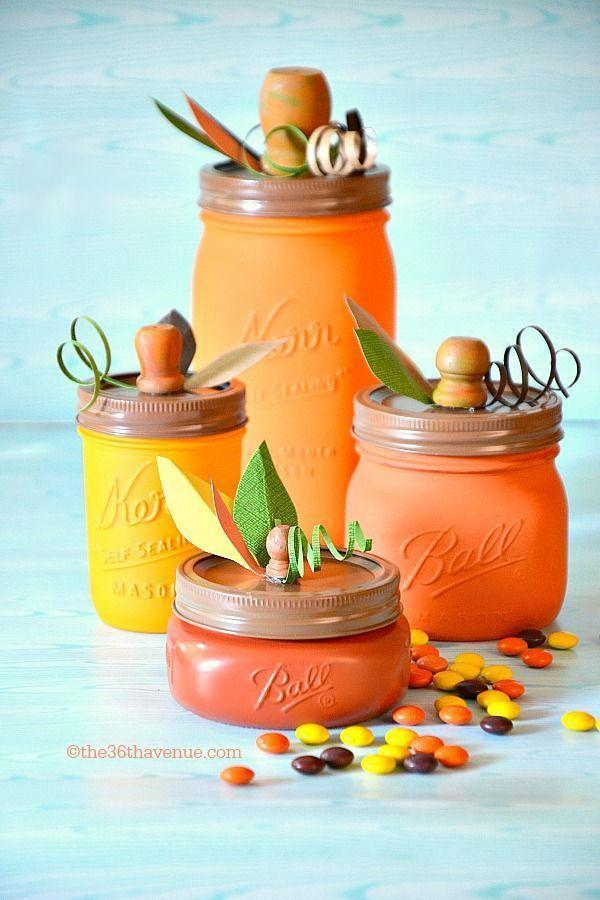 """<p>Make the most out of empty mason jars (or any glass jars, really) by painting them in shades of orange and topping them with a stem and leaves.</p><p><em><a href=""""http://www.the36thavenue.com/diy-pumpkin-mason-jars/"""" rel=""""nofollow noopener"""" target=""""_blank"""" data-ylk=""""slk:Get the tutorial at The 36th Avenue »"""" class=""""link rapid-noclick-resp"""">Get the tutorial at The 36th Avenue »</a></em></p>"""