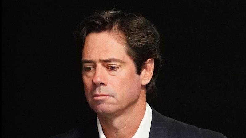 AFL CEO Gillon McLachlan announces the suspension of the competition until at least May 31