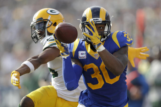 Todd Gurley catches a pass during the Rams' win over the Packers. (AP)