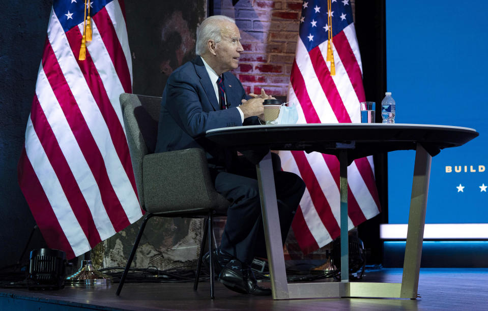 President-elect Joe Biden receives a briefing on national security at The Queen theater in Wilmington, Del., on Tuesday, Nov. 17, 2020. (Ruth Fremson/The New York Times)