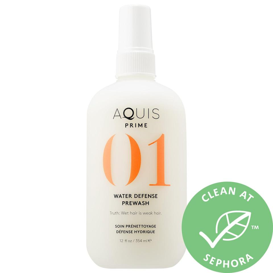"""<p>This <a href=""""https://www.popsugar.com/buy/Aquis-01-Prime-Water-Defense-PreWash-576171?p_name=Aquis%2001%20Prime%20Water%20Defense%20PreWash&retailer=sephora.com&pid=576171&price=22&evar1=bella%3Aus&evar9=47494507&evar98=https%3A%2F%2Fwww.popsugar.com%2Fbeauty%2Fphoto-gallery%2F47494507%2Fimage%2F47494547%2FAquis-01-Prime-Water-Defense-PreWash&list1=sephora%2Cbeauty%20shopping%2Cbeauty%20sale&prop13=mobile&pdata=1"""" class=""""link rapid-noclick-resp"""" rel=""""nofollow noopener"""" target=""""_blank"""" data-ylk=""""slk:Aquis 01 Prime Water Defense PreWash"""">Aquis 01 Prime Water Defense PreWash</a> ($22, originally $29) strengthens hair before you even step into the shower. Oh, and after you get out? Both the <a href=""""https://www.popsugar.com/buy/Aquis-Lisse-Luxe-Hair-Turban-399698?p_name=Aquis%20Lisse%20Luxe%20Hair%20Turban&retailer=sephora.com&pid=399698&price=23&evar1=bella%3Aus&evar9=47494507&evar98=https%3A%2F%2Fwww.popsugar.com%2Fbeauty%2Fphoto-gallery%2F47494507%2Fimage%2F47494547%2FAquis-01-Prime-Water-Defense-PreWash&list1=sephora%2Cbeauty%20shopping%2Cbeauty%20sale&prop13=mobile&pdata=1"""" class=""""link rapid-noclick-resp"""" rel=""""nofollow noopener"""" target=""""_blank"""" data-ylk=""""slk:Aquis Lisse Luxe Hair Turban"""">Aquis Lisse Luxe Hair Turban</a> ($23, originally $30) and <a href=""""https://www.popsugar.com/buy/Aquis-Waffle-Luxe-Hair-Turban-576289?p_name=Aquis%20Waffle%20Luxe%20Hair%20Turban&retailer=sephora.com&pid=576289&price=30&evar1=bella%3Aus&evar9=47494507&evar98=https%3A%2F%2Fwww.popsugar.com%2Fbeauty%2Fphoto-gallery%2F47494507%2Fimage%2F47494547%2FAquis-01-Prime-Water-Defense-PreWash&list1=sephora%2Cbeauty%20shopping%2Cbeauty%20sale&prop13=mobile&pdata=1"""" class=""""link rapid-noclick-resp"""" rel=""""nofollow noopener"""" target=""""_blank"""" data-ylk=""""slk:Aquis Waffle Luxe Hair Turban"""">Aquis Waffle Luxe Hair Turban</a> ($30, originally 40) are also on sale to prevent breakage then as well.</p>"""