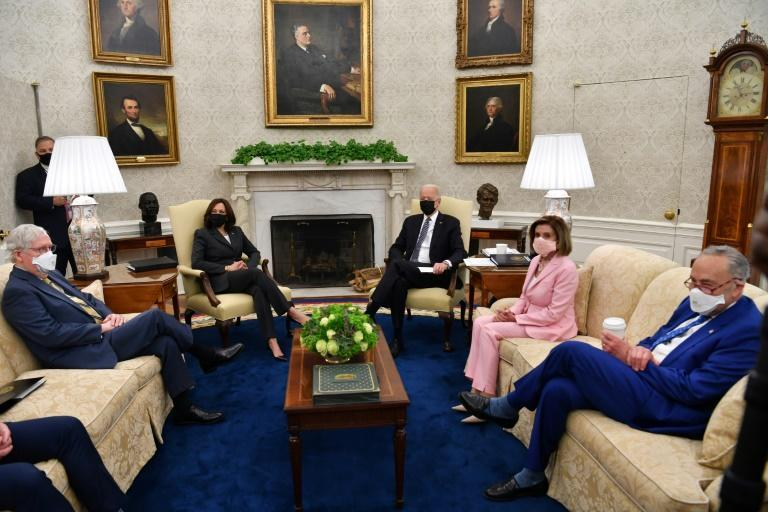 US President Joe Biden and Vice President Kamala Harris met with the top four leaders in Congress, two Democrats and two Republicans, minutes after the the Republican Party ousted anti-Trump congresswoman Liz Cheney from leadership