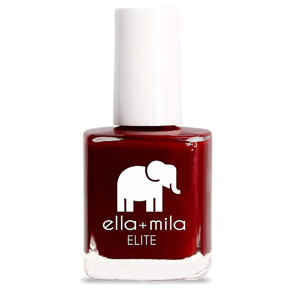 In the case of Ella + Mila Elite Nail Polish, its seven-free formula means the exclusion of formaldehyde, toluene, DBP, formaldehyde resin, camphor, triphenyl phosphate (TPHP), xylene. However, the quick-dry and chip-resistant formula, in shades like Naughty Not Nice (seen here), can also take credit for being vegan and cruelty-free.