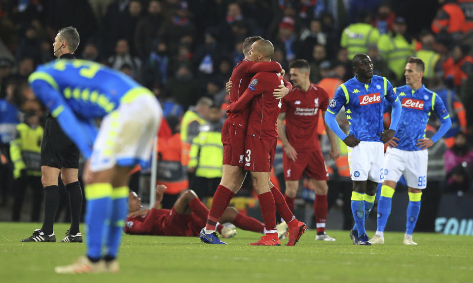 Liverpool and Napoli cut contrasting figures after a result which saw the Reds go through to the knockouts at the expense of the Italians.