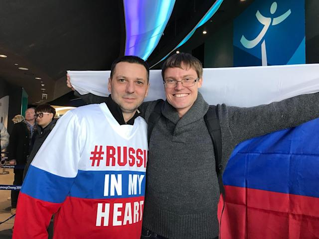 Dmitrii Bukurov (left) and Roman Bukov made the trip from Russia to support Olympic Athletes of Russia. (Dan Wetzel)