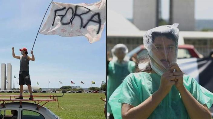 Demonstrators in Brasilia on January 31, 2021 demanded President Jair Bolsonaro's ouster over his handling of the coronavirus pandemic; some donned plastic bags to represent hospital patients who died when oxygen supplies ran out