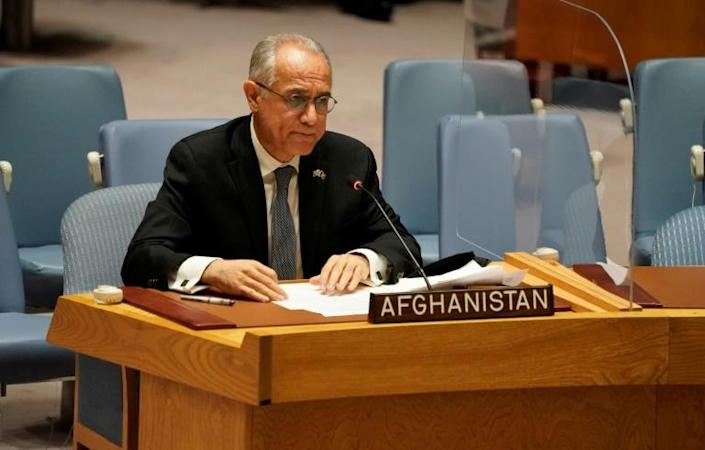 Permanent Representative of Afghanistan to the United Nations, Ghulam M. Isaczai speaks during a UN security council meeting on Afghanistan on August 16, 2021 (AFP/TIMOTHY A. CLARY)