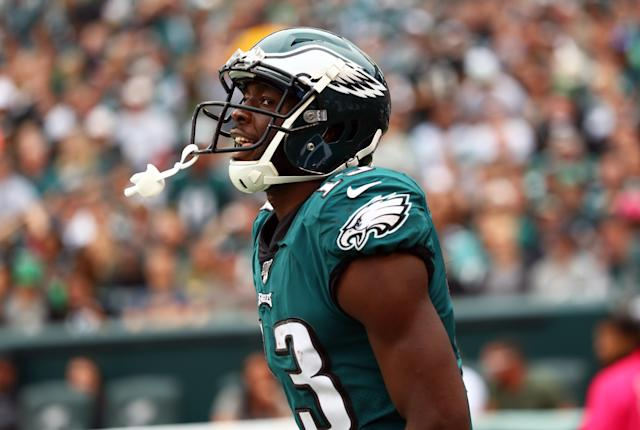 "<a class=""link rapid-noclick-resp"" href=""/nfl/teams/philadelphia/"" data-ylk=""slk:Philadelphia Eagles"">Philadelphia Eagles</a> receiver Nelson Agholor is under fire again after a play Sunday night. (Kyle Ross/Getty Images)"