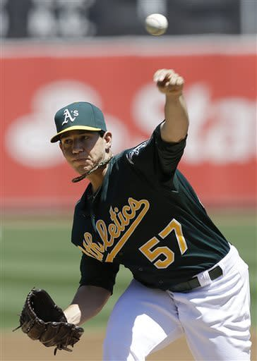 Oakland Athletics pitcher Tommy Milone delivers against the Los Angeles Angels during the first inning of a baseball game in Oakland, Calif., Wednesday, May 1, 2013. (AP Photo/Jeff Chiu)