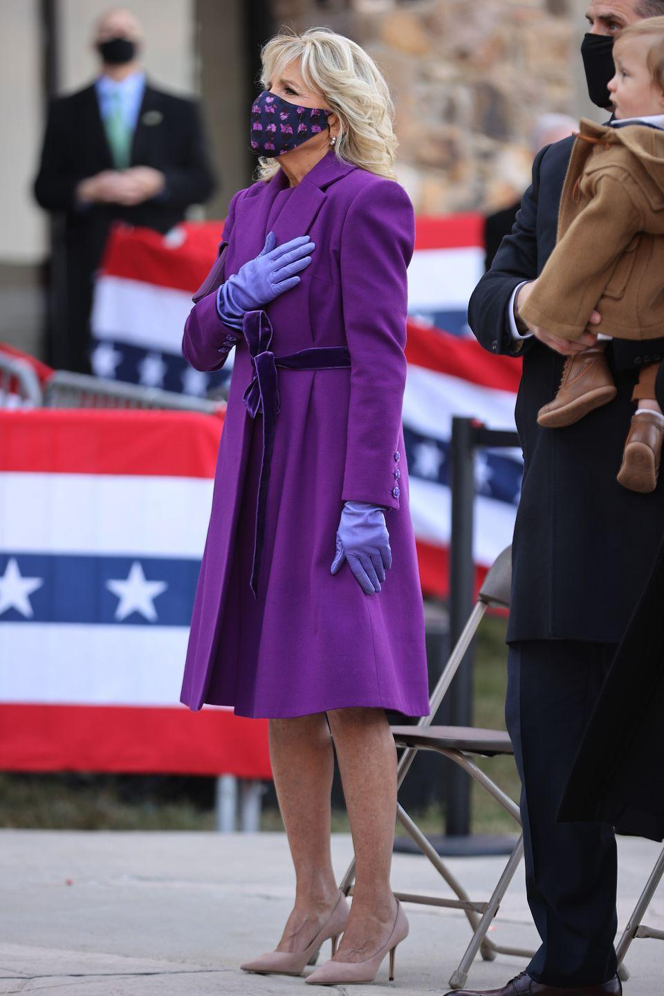 <p>The day before the inauguration, Dr. Biden wore a coat, dress, and face mask by Jonathan Cohen. The Mexican-American designer is passionate about sustainability—and, fittingly, Biden's mask was made from fabric remnants left over from Cohen's previous seasons.</p>