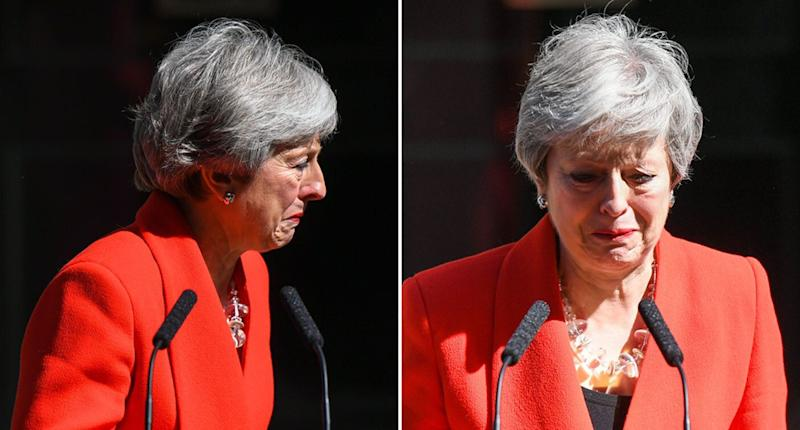 Theresa May, British Prime Minister, has announced her resignation. She's pictured in tears after making the announcement.