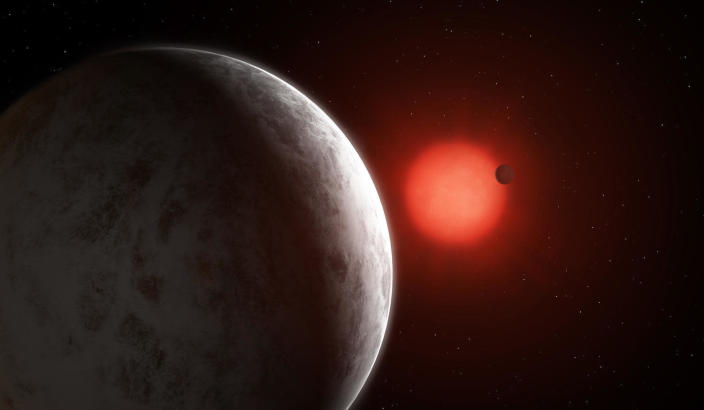 Artist's impression of the multi-planetary system of newly discovered super-Earths orbiting nearby red dwarf Gliese 887. / Credit: Mark Garlick