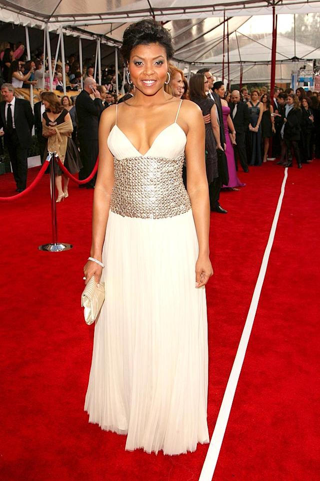 """""""Boston Legal's"""" Taraji P. Henson makes a daring choice by wearing a white gown with studded bodice, which most women only wish they could pull off. Chris Polk/<a href=""""http://www.wireimage.com"""" target=""""new"""">WireImage.com</a> - January 27, 2008"""