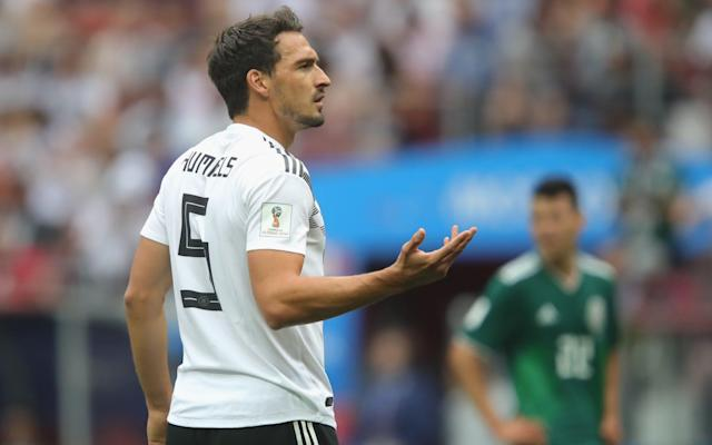 "Mats Hummels, the Germany centre-back, has blamed the defensive indiscipline of his team-mates after the defending champions began their World Cup defence with a shock 1-0 defeat against Mexico. Hirving Lozano's winning goal was scored on the counter-attack and, despite Germany's dominance of possession, they were repeatedly exposed defensively when they lost the ball and could have fallen to an even heavier defeat. Hummels himself struggled badly but he pointed to the lack of protection that was being afforded to the team's two centre-backs. ""Mexico deserved the win – our cover was often not good and we were left many times with Jérôme [Boateng] and myself at the back,"" he said. ""If seven of eight players are attacking then it's clear our attacking power is greater. But that's something that I have often talked about internally. It doesn't always bear fruit. ""A wake-up call is too late. We now must win two games, otherwise that is that with the World Cup. I don't really understand why we played like we played because, really, we already had our wake-up call."" Manager Joachim Löw was adamant that Germany will still reach the last 16 but also admitted that the team had not responded adequately to Mexico's rapid counter-attacks. Germany had previously won all six of their tournament opening matches in which Löw has either been manager or assistant manager by an aggregate 17-2 scoreline. World Cup record: Germany ""We were nervous and we weren't playing the game we wanted to play,"" he said. ""We just lost the ball up front far too easily, and Mexico had always two or three people up front whom we failed to block efficiently. ""We will make it to the next round. In tournaments, losing a match can happen and you have to accept it. We will not become reckless. There is no reason to panic. We have three matches and ample opportunities to correct this result."" World Cup 2018 