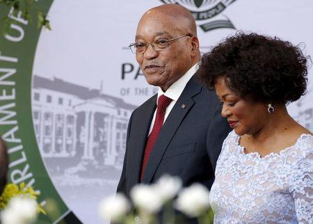 South Africa's President Jacob Zuma arrives with Speaker of Parliament Baleka Mbete to give his State of the Nation address at the opening session of Parliament in Cape Town