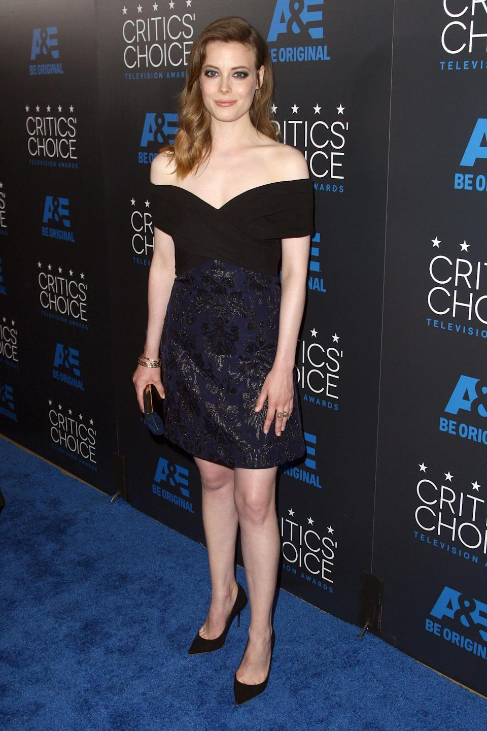 Gillian Jacobs was oh-so-trendy in an off-the-shoulder dress from J. Mendel.