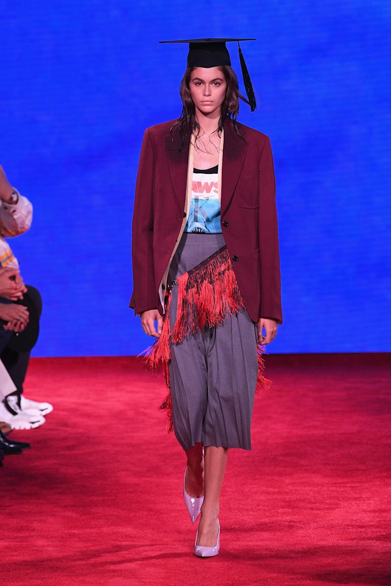 Model Kaia Gerber walks the runway for Calvin Klein Collection during New York Fashion Week at New York Stock Exchange on September 11, 2018 in New York City. Photo courtesy of Getty Images.