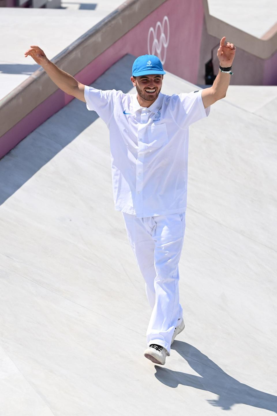 Vincent Milou, who ranked fourth in the men's street finals, wearing a crisp, all-white version of the French uniform.