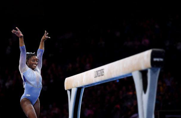 PHOTO: Simone Biles of the U.S. performs on Balance Beam during Women's Qualification on Day 2 of the FIG Artistic Gymnastics World Championships on October 05, 2019, in Stuttgart, Germany. (Laurence Griffiths/Getty Images)