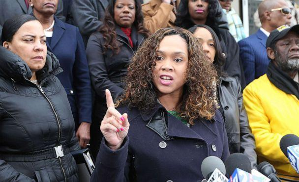 PHOTO: Marilyn Mosby, who serves as the State's Attorney for Baltimore, Md., remarks about a federal lawsuit filed by St. Louis Circuit Attorney Kim Gardner, during a press conference in St. Louis on Jan. 14, 2020. (Bill Greenblatt/UPI via Newscom)
