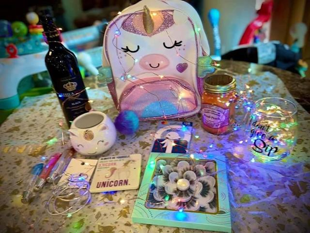 This unicorn fairy delivery came with wine, beauty products and a gift card. (Photo: Birdie Ford)