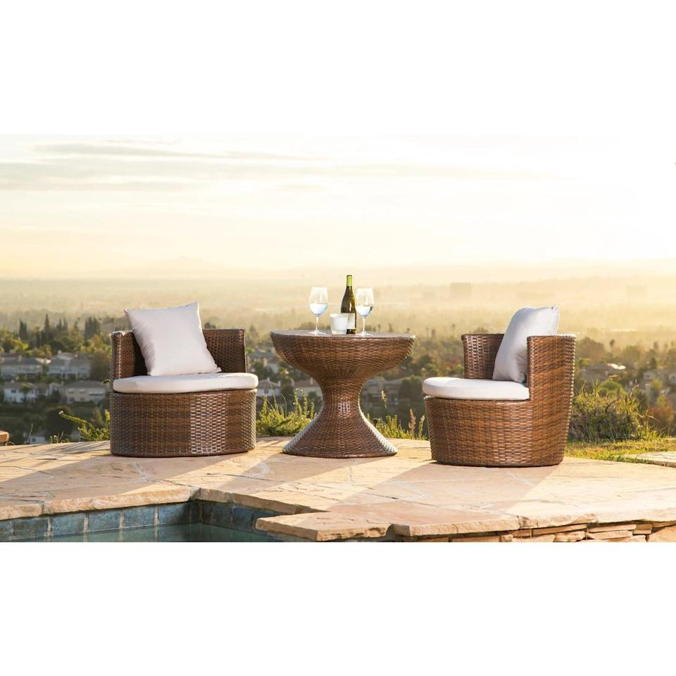 <p>Transform your patio space into a mini getaway with this <span>Abbyson Living 3pc Manchester Outdoor Wicker Patio Chat Set Brown</span> ($420).</p>