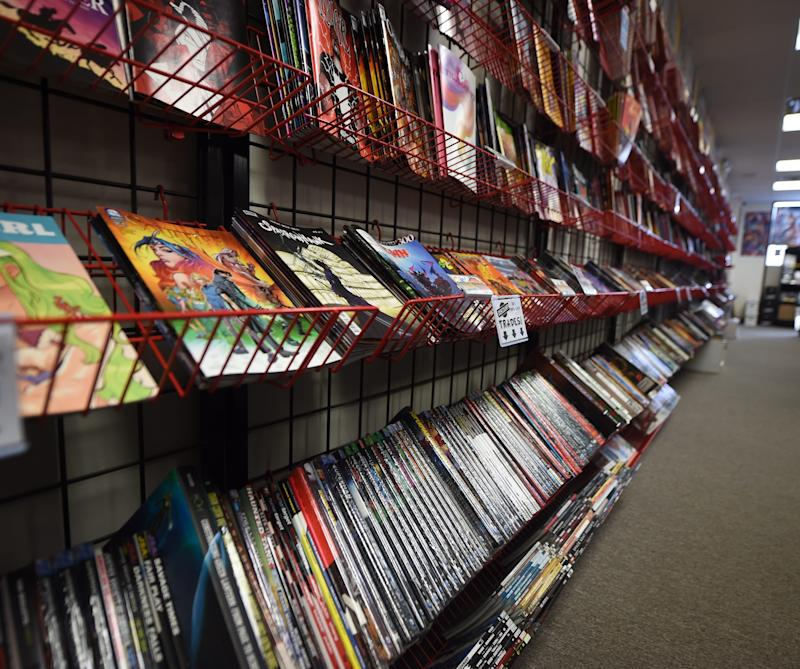 Inside Comic Store West in York, Pennsylvania. Comic book stores face required retail shutdowns, decreased foot traffic and throttled distribution.