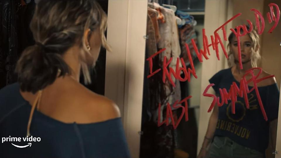 Madison Iseman sees a terrifying I Know What You Did Last Summer message scrawled on her mirror in lipstick in the Amazon Prime show of the same name.