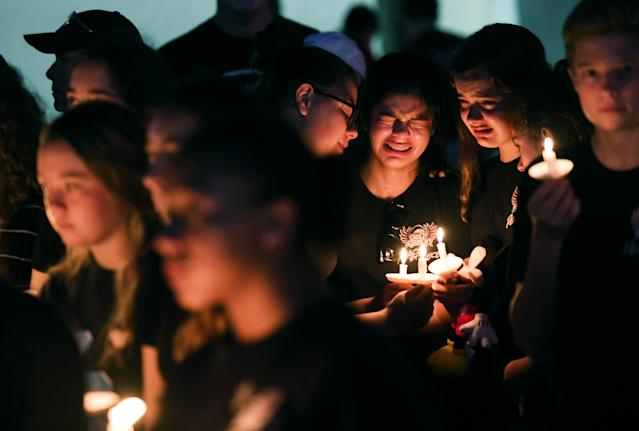 Students gather to honor of the victims of the school shooting in Parkland, Fla. (Photo: Matt McClain/Washington Post via Getty Images)