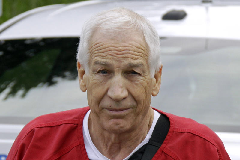 Former Penn State University assistant football coach Jerry Sandusky arrives for sentencing at the Centre County Courthouse in Bellefonte, Pa., Tuesday, Oct. 9, 2012. (AP Photo/Gene J. Puskar)