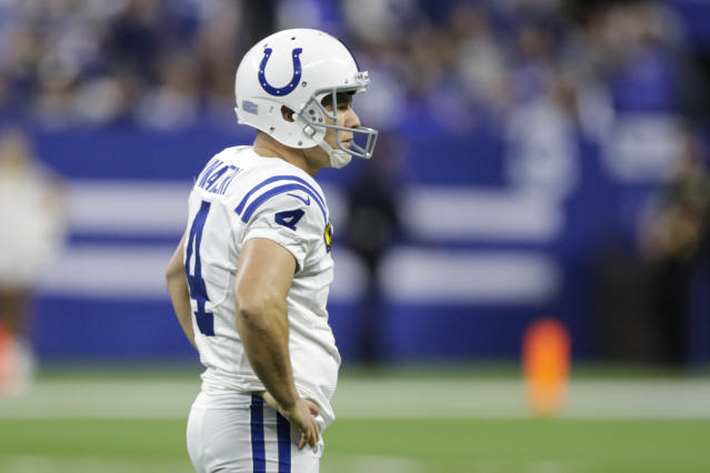 Indianapolis Colts kicker Adam Vinatieri (4) is dealing with a knee issue. (AP Photo/Darron Cummings)
