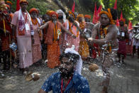 Smashing coconut on head<br><br>Who would want to do this willingly? Apparently some thousands of devotees flock to the Mahalakshmi temple in Tamil Nadu for this festival in which they allow the priests to smash coconuts on their heads to attract good luck and fortune.