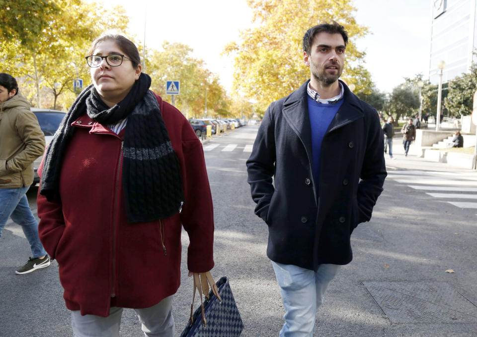 MADRID, SPAIN - NOVEMBER 27:  Sara Montiel's son Zeus Tous and daughter Thais Zous attend court on November 27, 2017 in Madrid, Spain.  (Photo by Europa Press/Europa Press via Getty Images)